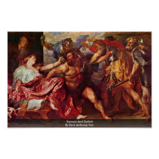 Samson And Delilah By Dyck Anthonis Van Poster