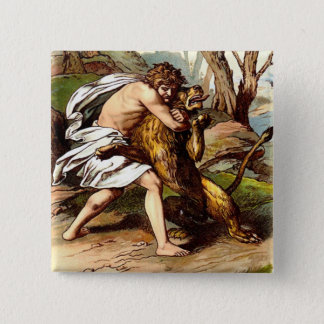 Samson And The Lion 2 Inch Square Button