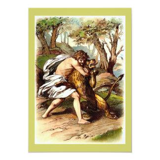 "Samson And The Lion 5"" X 7"" Invitation Card"