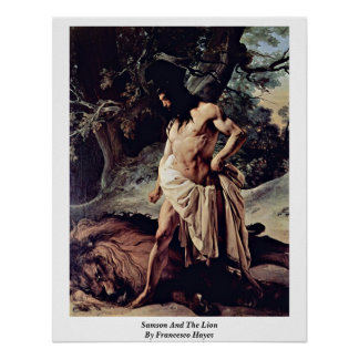 Samson And The Lion By Francesco Hayez Poster