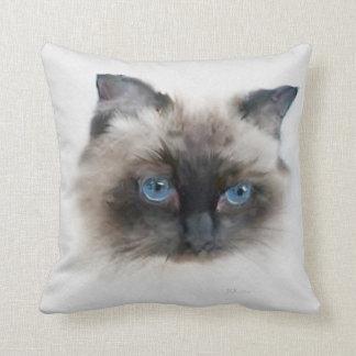 Samson: Black, Blue-Eyed Cat Throw Pillow