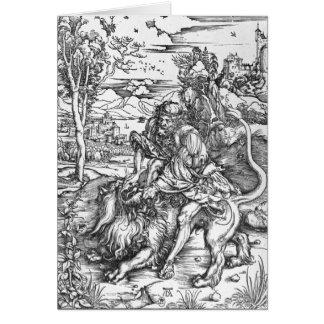 Samson slaying the lion, c.1496-98 card