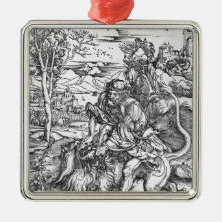 Samson slaying the lion, c.1496-98 metal ornament