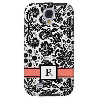 Samsung Custom Monogram Coral Black Floral Damask