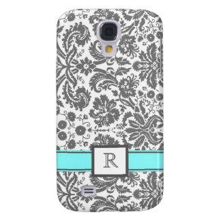 Samsung Custom Monogram Grey Aqua Floral Damask