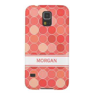 Samsung Custom Name Coral Circles Pattern Galaxy S5 Cases