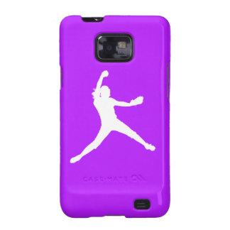 Samsung Galaxy Case Fastpitch White Purple Samsung Galaxy SII Covers