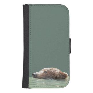 Samsung Galaxy S4 Wallet Case w/ grizzly  bear