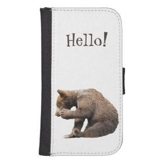 Samsung Galaxy S4 Wallet Case w/ grizzly  bear cub