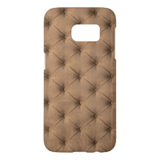 Samsung Galaxy S7 case with brown velvet capitone