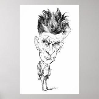 Samuel Beckett Caricature by Edmund S Valtman Poster