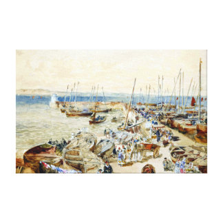 Samuel Bough Newhaven Harbour on Firth of Forth Canvas Print