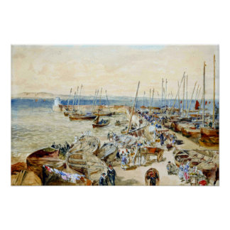 Samuel Bough Newhaven Harbour on Firth of Forth Poster