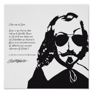 Samuel Champlain Hipster text of future+glasses Poster