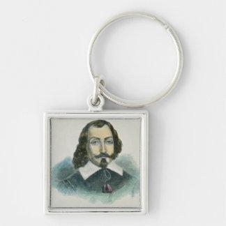 Samuel de Champlain Silver-Colored Square Keychain