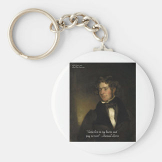 """Samuel Lover """"Rent Free Heart"""" Love Quote Gifts Basic Round Button Keychain"""