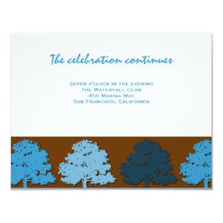 Samuel Reception Bar Mitzvah  Wedding Blue Trees Card