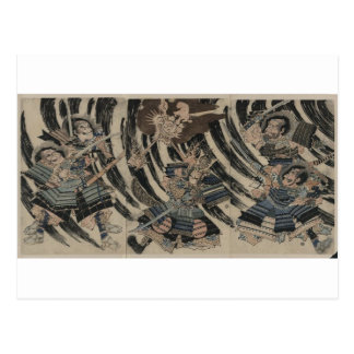 Samurai and Demon circa 1818 Postcard