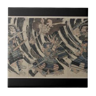 Samurai and Demon circa 1818 Tile