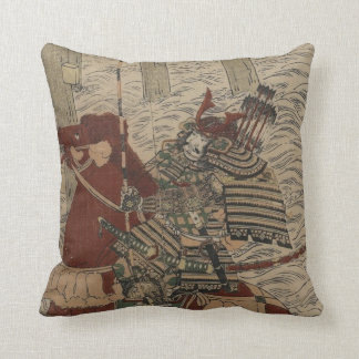Samurai and Horse in Water circa 1772 Throw Pillow