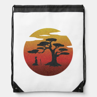 Samurai at Sunset Tree Drawstring Backpack