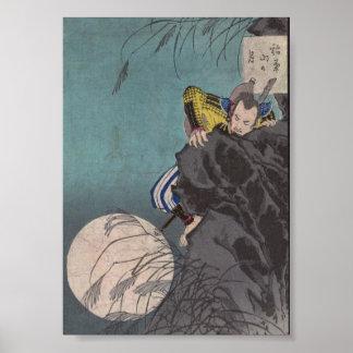 Samurai climbing Ninja-like up a Mountain Poster