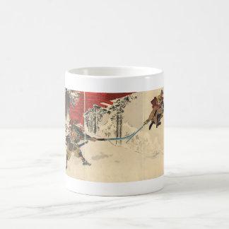 Samurai combat in the snow circa 1890 coffee mug
