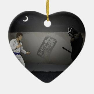 Samurai Damashi  Martial Artist vs Samurai Ceramic Heart Ornament