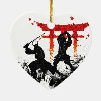 Samurai Duel Ceramic Heart Ornament