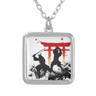 Samurai Duel Silver Plated Necklace