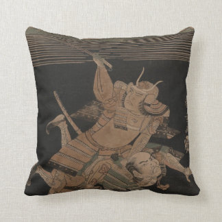 Samurai Fighting at Night circa 1770 Throw Pillow