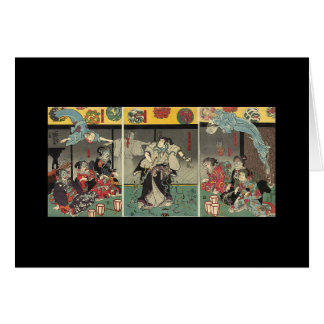 Samurai fighting ghosts and snakes c. 1850 card