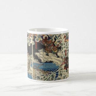 Samurai fighting tiger etc. circa 1800's coffee mug