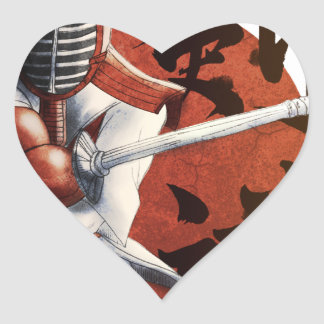 samurai heart sticker