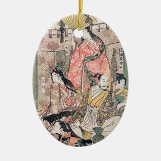 Samurai Hideyoshi and Wives Kitagawa Utamaro Ceramic Oval Ornament