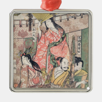 Samurai Hideyoshi and Wives Kitagawa Utamaro Silver-Colored Square Ornament