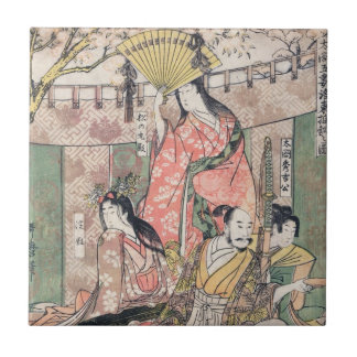 Samurai Hideyoshi and Wives Kitagawa Utamaro Tile