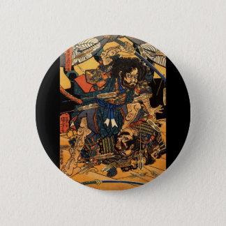 Samurai in Combat, circa 1800's 2 Inch Round Button