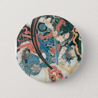 Samurai Killing a Demon, Ancient Japanese Painting 2 Inch Round Button