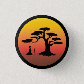 Samurai meditating at sunset under tree - Button