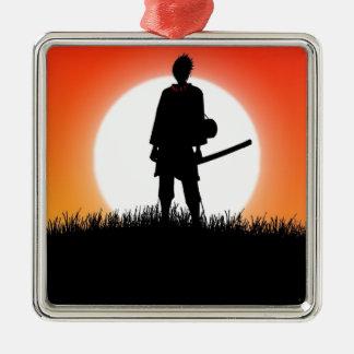 Samurai, Ninja - Japanese Warrior Silver-Colored Square Ornament