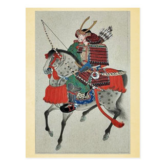 Samurai on horseback,wearing armor postcard