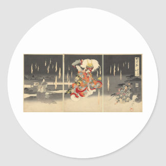 Samurai Painting circa 1898 Classic Round Sticker