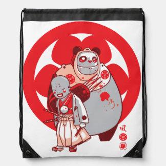 samurai & pandarobot drawstring bag