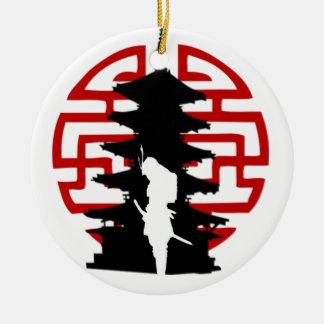 Samurai Round Ceramic Ornament