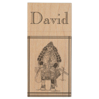 Samurai Scotsman Wood USB 2.0 Flash Drive