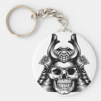 Samurai Skull Basic Round Button Keychain
