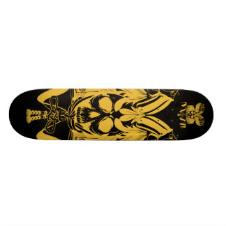 Samurai Skull Gold Black color Skate Board Deck