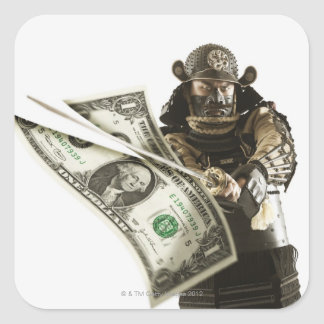 Samurai slicing dollar bill with sword square sticker