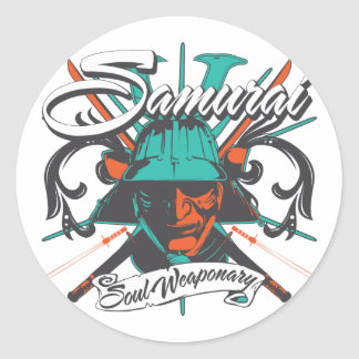 Samurai Soul Weaponary Classic Round Sticker